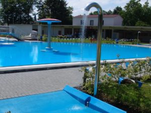 Standing showers and outdoor pool equipment