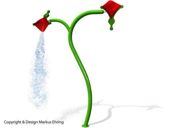 Wasserblume Zwei Kippblueten Rendering Wasser I