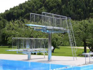 Swimming sports equipment and diving boards for sports swimming pools