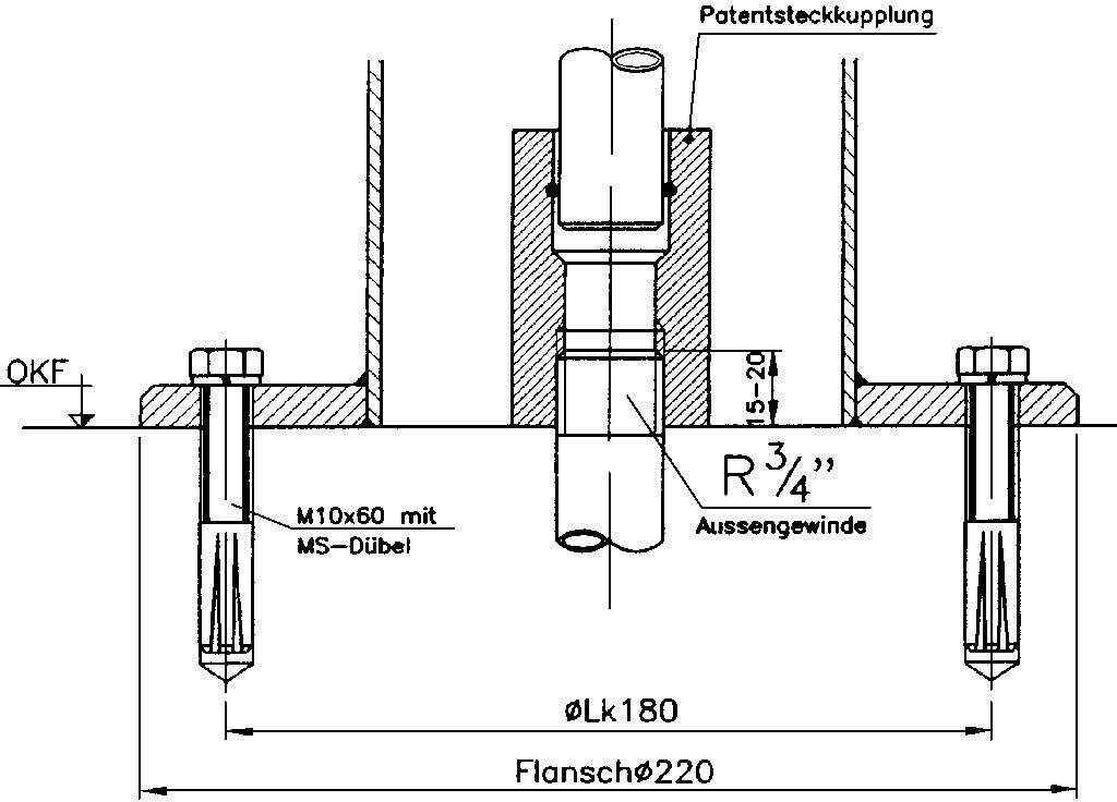 R43 Fussflanschplatte Patentsteckkupplung Zeichnung I